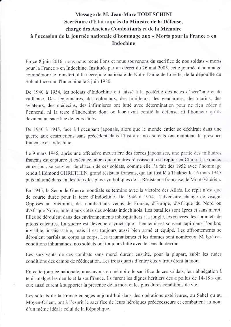8 juin 2016 Hommage aux morts pour la France en Indochine Lectur12
