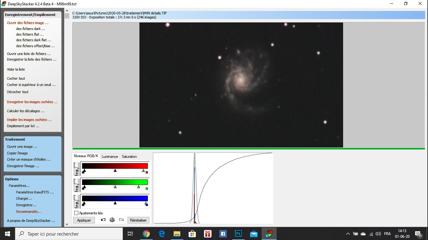 M98, M99 et la Galaxie de la traînée d'argent Captur13