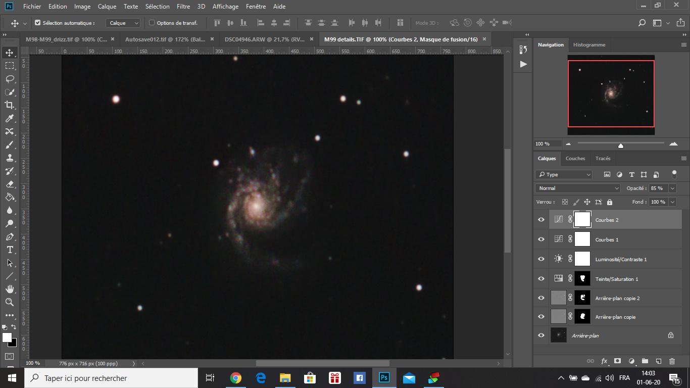 M98, M99 et la Galaxie de la traînée d'argent Captur14