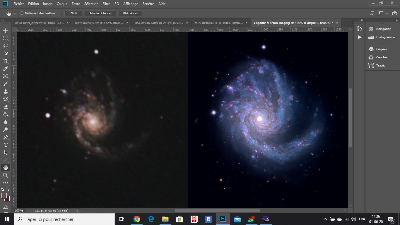 M98, M99 et la Galaxie de la traînée d'argent Captur15