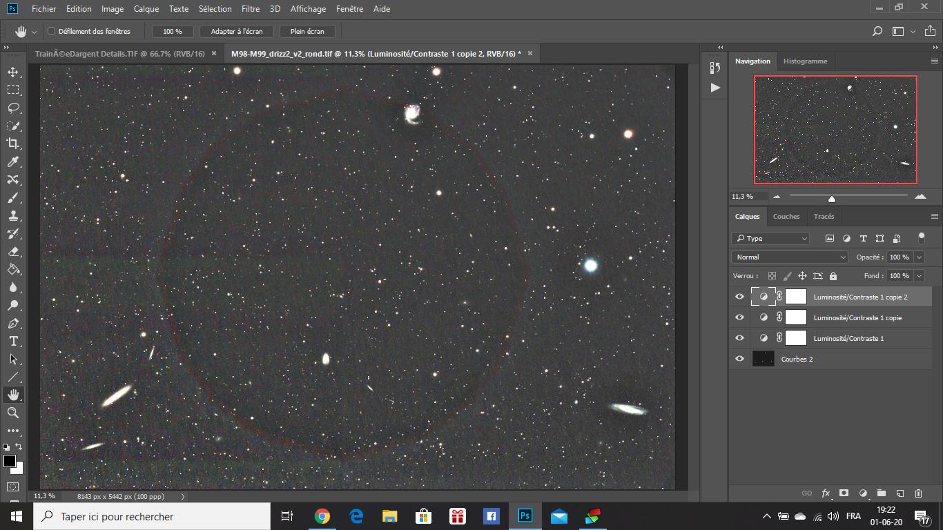 M98, M99 et la Galaxie de la traînée d'argent Captur16
