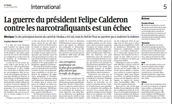 La guerre de Felipe Calderon contre les narcotrafiquants est un échec 2010-010