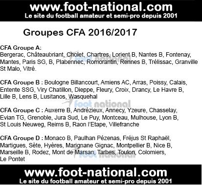 CFA 2016/2017 : Les groupes dévoilés  Groupe10