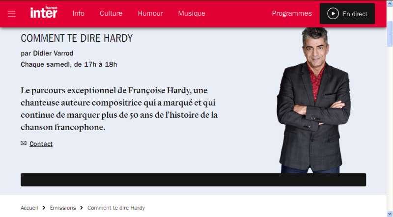 France Inter - Comment te dire Hardy - Tous les samedis d'été à 17h Tout_l10