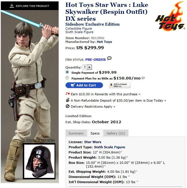 Hot Toys - 1/6 scale Bespin Luke Skywalker DX - Page 2 Luke_110
