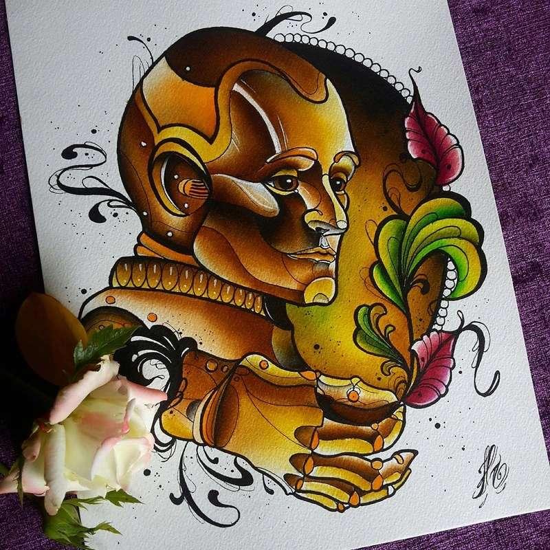 Travail  d'une future artiste tatoueuse . Beaucoup de sujets Disney .  14045010
