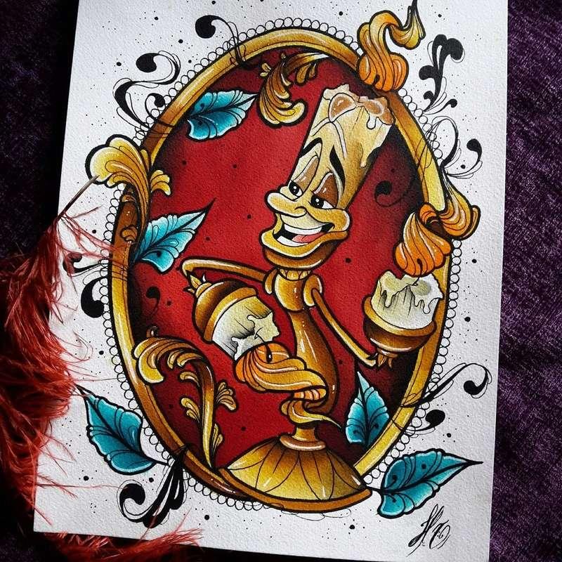 Travail  d'une future artiste tatoueuse . Beaucoup de sujets Disney .  14045210