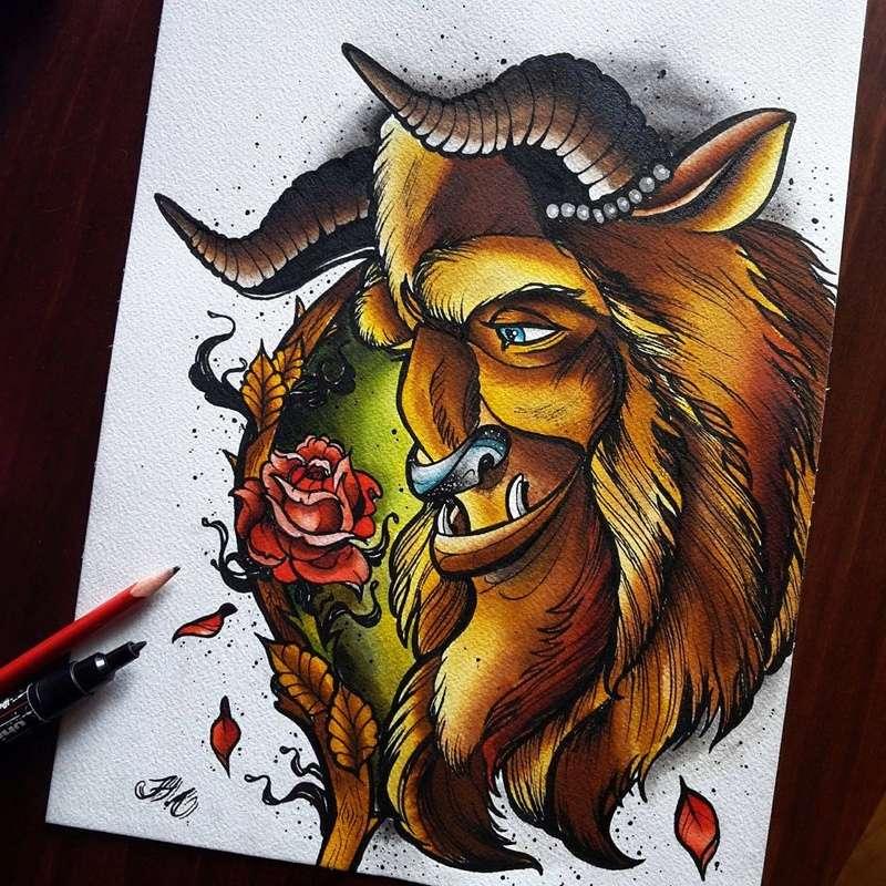 Travail  d'une future artiste tatoueuse . Beaucoup de sujets Disney .  14060111