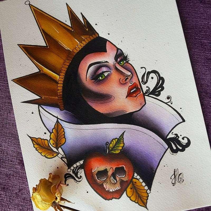 Travail  d'une future artiste tatoueuse . Beaucoup de sujets Disney .  14060210