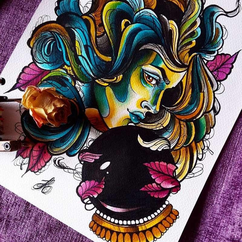 Travail  d'une future artiste tatoueuse . Beaucoup de sujets Disney .  14074910