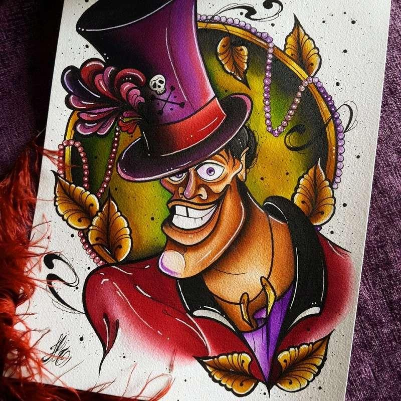 Travail  d'une future artiste tatoueuse . Beaucoup de sujets Disney .  14075010