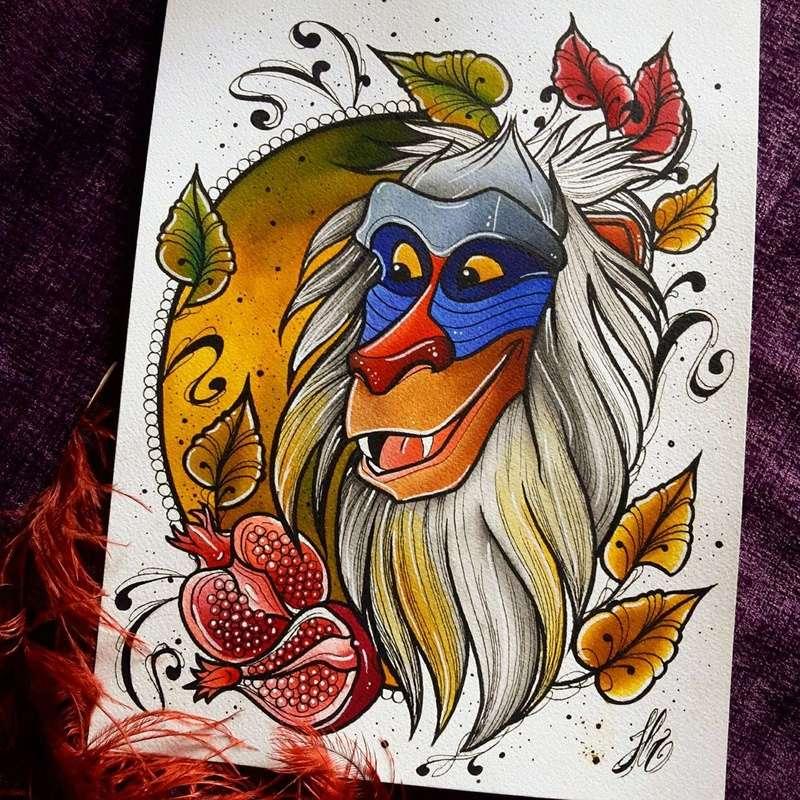 Travail  d'une future artiste tatoueuse . Beaucoup de sujets Disney .  14087210