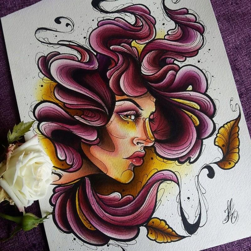 Travail  d'une future artiste tatoueuse . Beaucoup de sujets Disney .  14087710