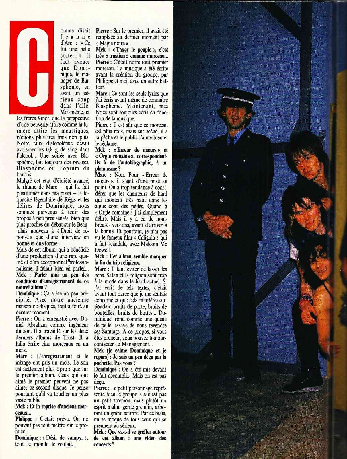 "BLASPHEME interview ""Metal Attack Mai 1985"" ... Blasph12"