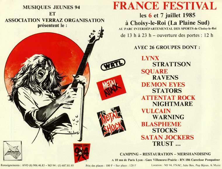 """FRANCE FESTIVAL à Choisy le Roi les 6 et 7 juillet 1985 (Chronique d'une belle aventure) """"Metal Attack"""" Juillet 1985  France10"""