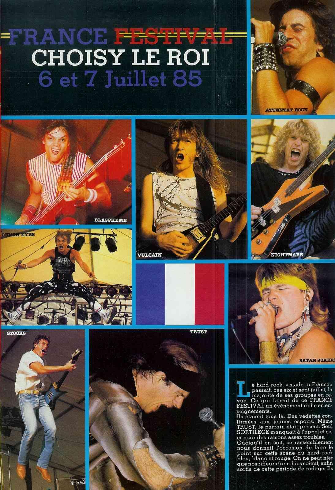 """FRANCE FESTIVAL à Choisy le Roi les 6 et 7 juillet 1985 (Chronique d'une belle aventure) """"Metal Attack"""" Juillet 1985  France11"""