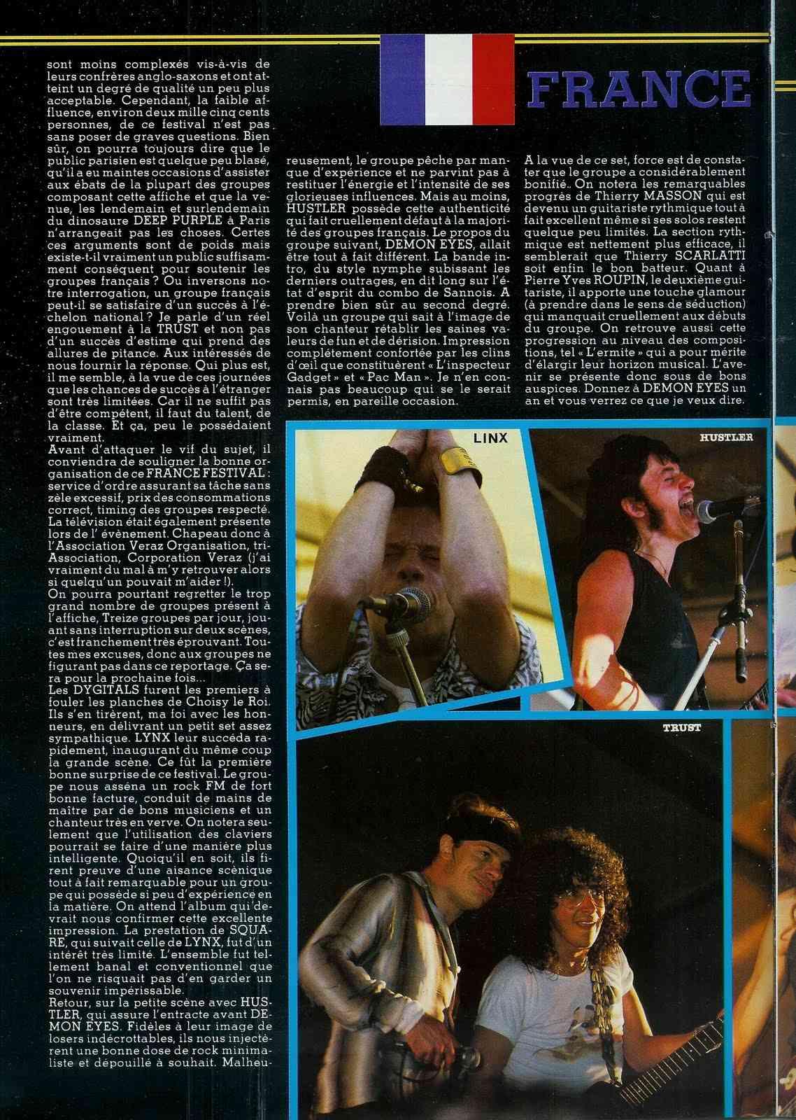 """FRANCE FESTIVAL à Choisy le Roi les 6 et 7 juillet 1985 (Chronique d'une belle aventure) """"Metal Attack"""" Juillet 1985  France12"""