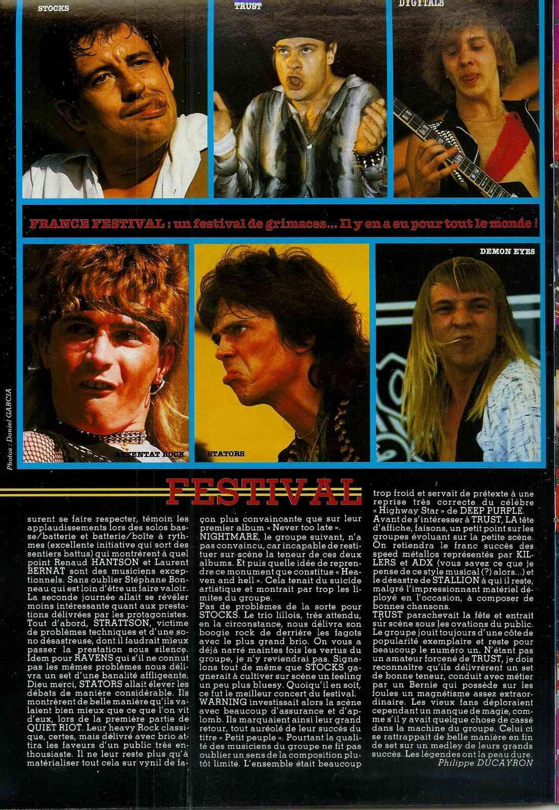 """FRANCE FESTIVAL à Choisy le Roi les 6 et 7 juillet 1985 (Chronique d'une belle aventure) """"Metal Attack"""" Juillet 1985  France13"""