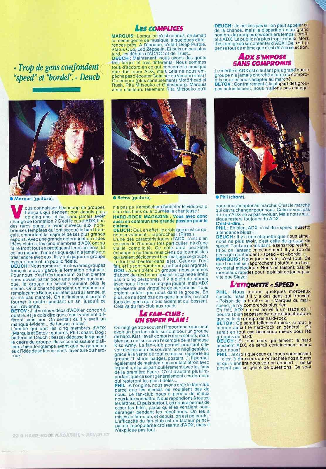 Interview ADX Hard-Rock Magazine Juillet 1987 ... Interv12