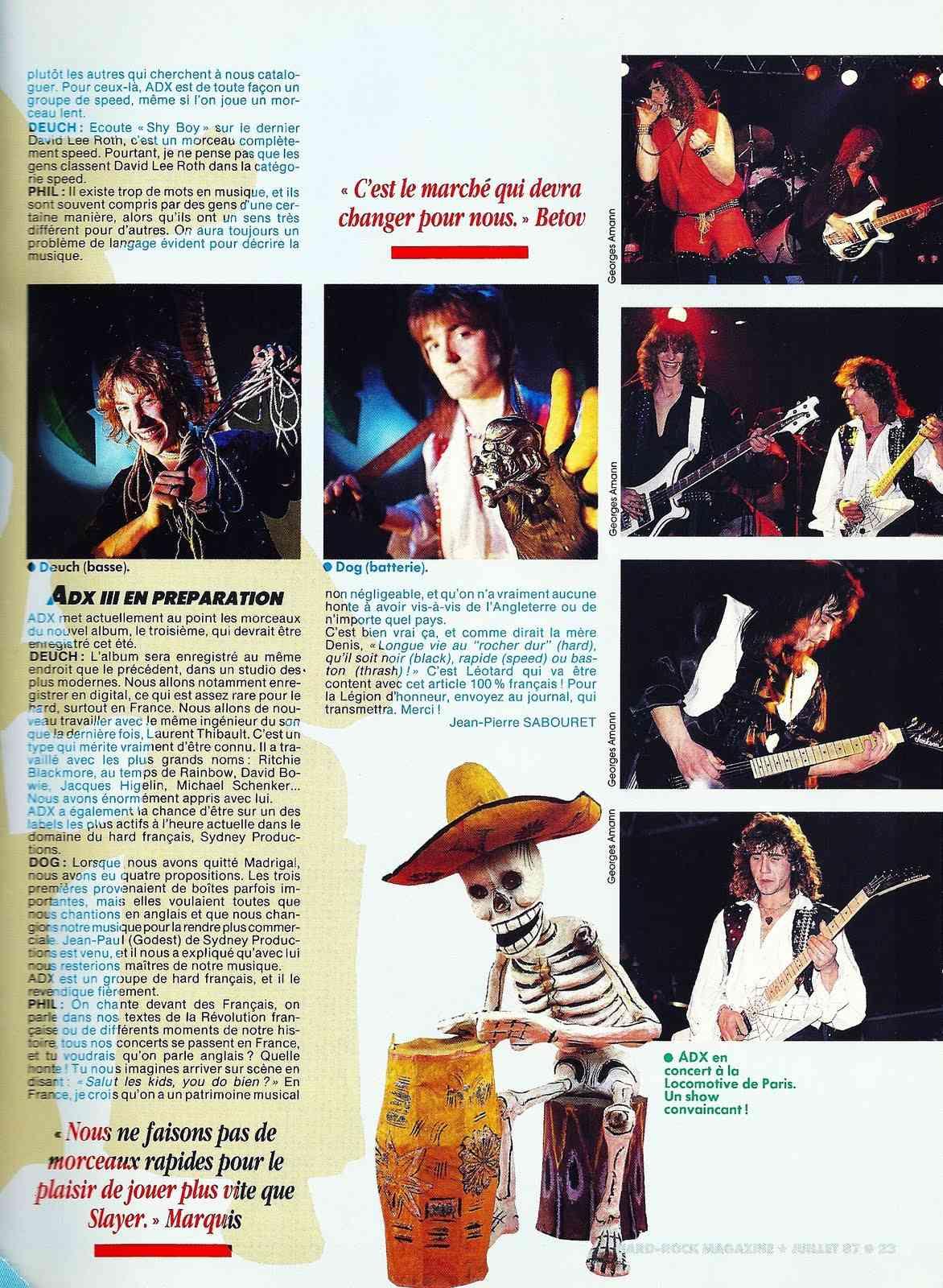 Interview ADX Hard-Rock Magazine Juillet 1987 ... Interv13
