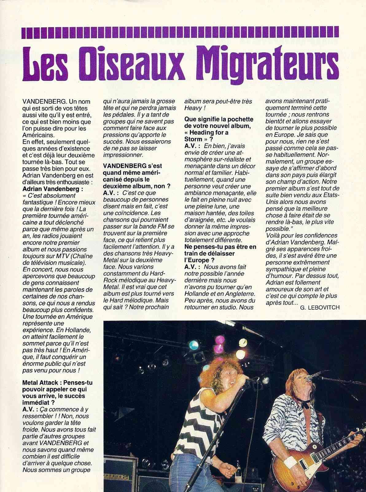 Interview VANDENBERG pour BELISAMA ... Numyri13