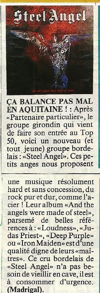 Une toute petite chronique de l'album de STEEL ANGEL : And the Angels Were Made of Steel (1985) Numyri17