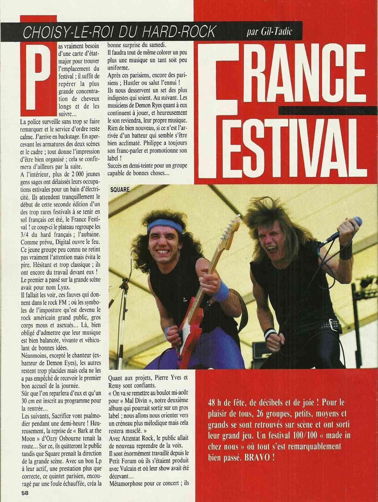 """FRANCE FESTIVAL à Choisy le Roi les 6 et 7 juillet 1985 (Chronique d'une belle aventure) """"Metal Attack"""" Juillet 1985  Numyri32"""