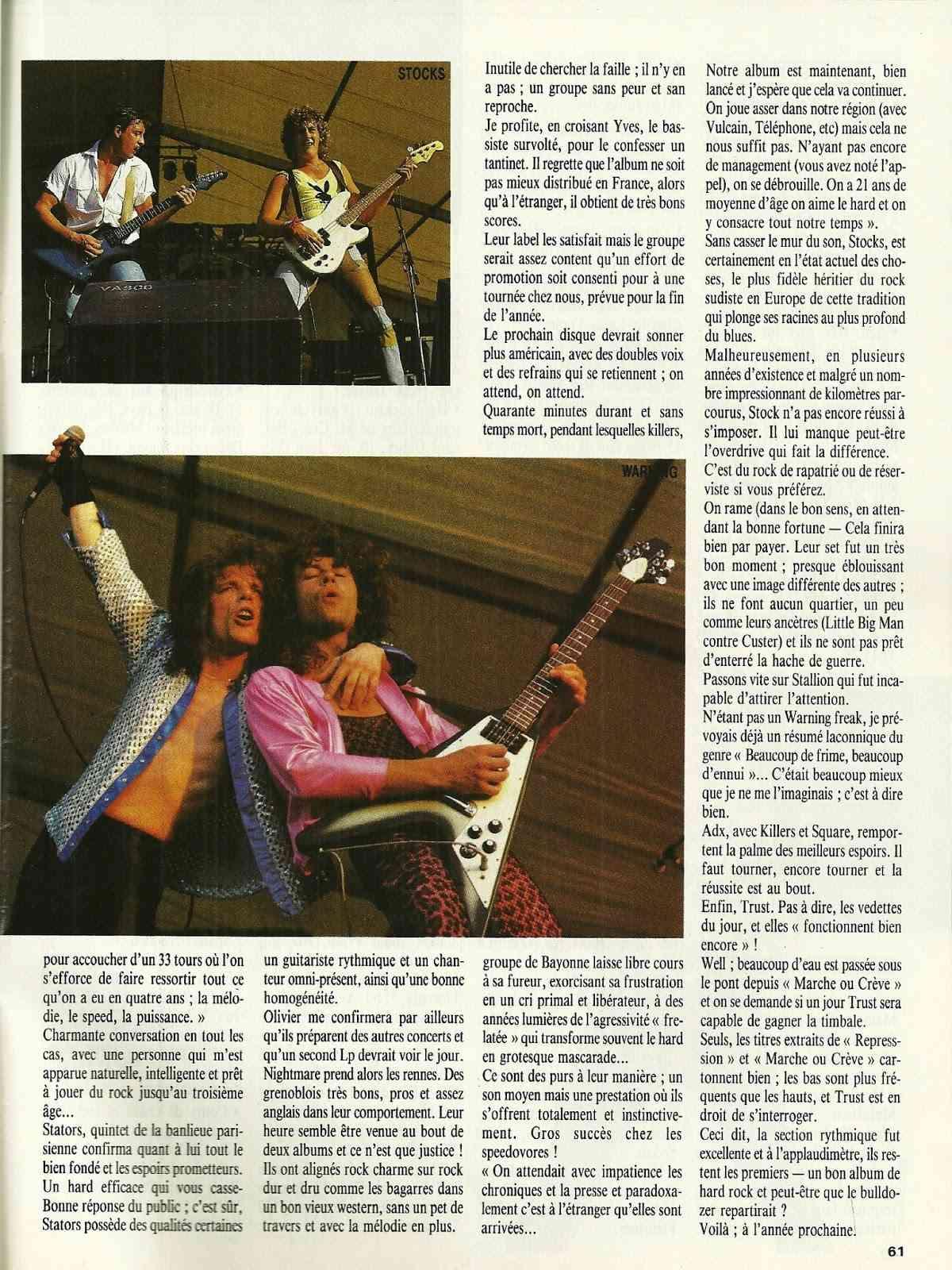"""FRANCE FESTIVAL à Choisy le Roi les 6 et 7 juillet 1985 (Chronique d'une belle aventure) """"Metal Attack"""" Juillet 1985  Numyri33"""