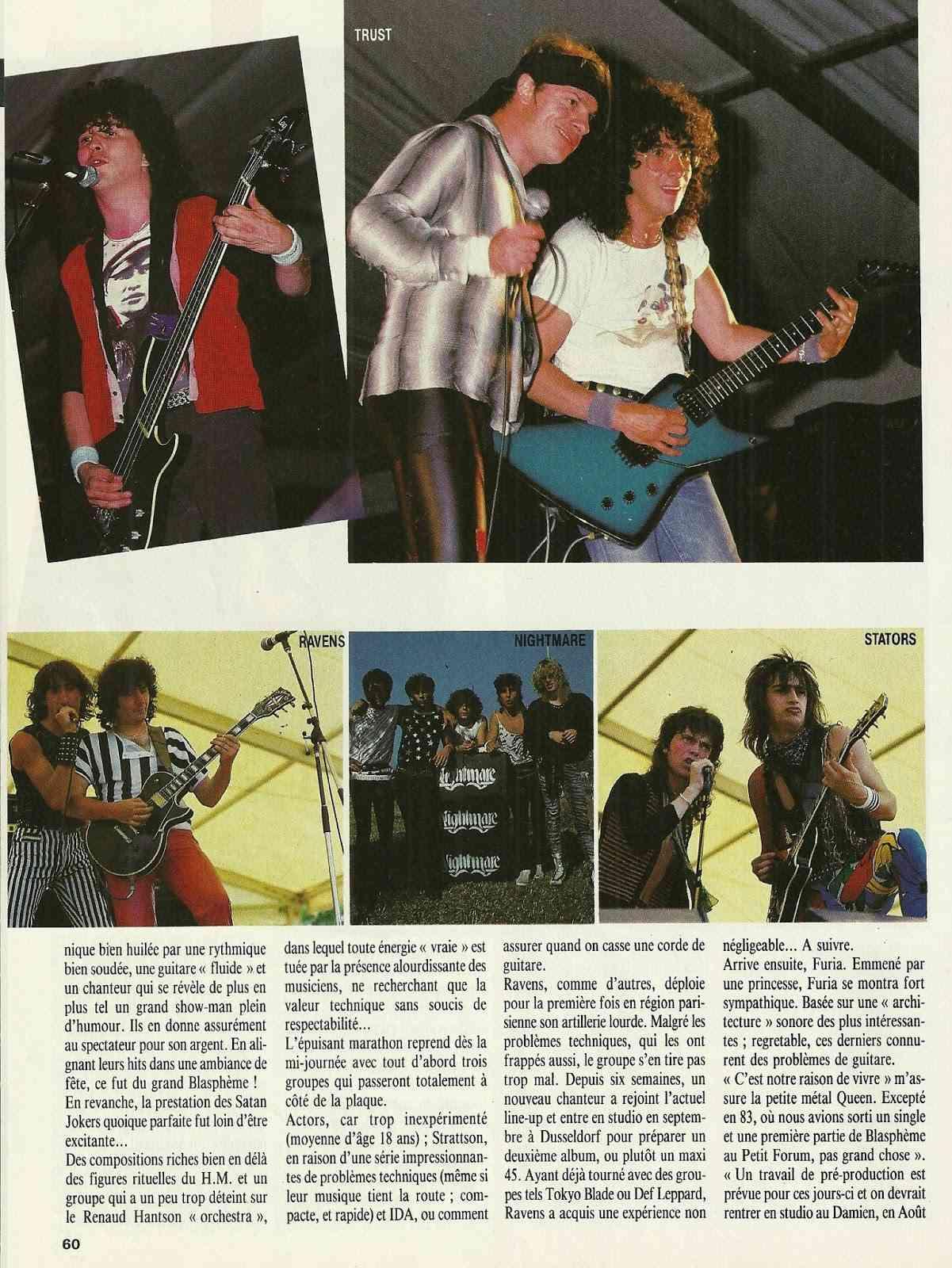 """FRANCE FESTIVAL à Choisy le Roi les 6 et 7 juillet 1985 (Chronique d'une belle aventure) """"Metal Attack"""" Juillet 1985  Numyri34"""