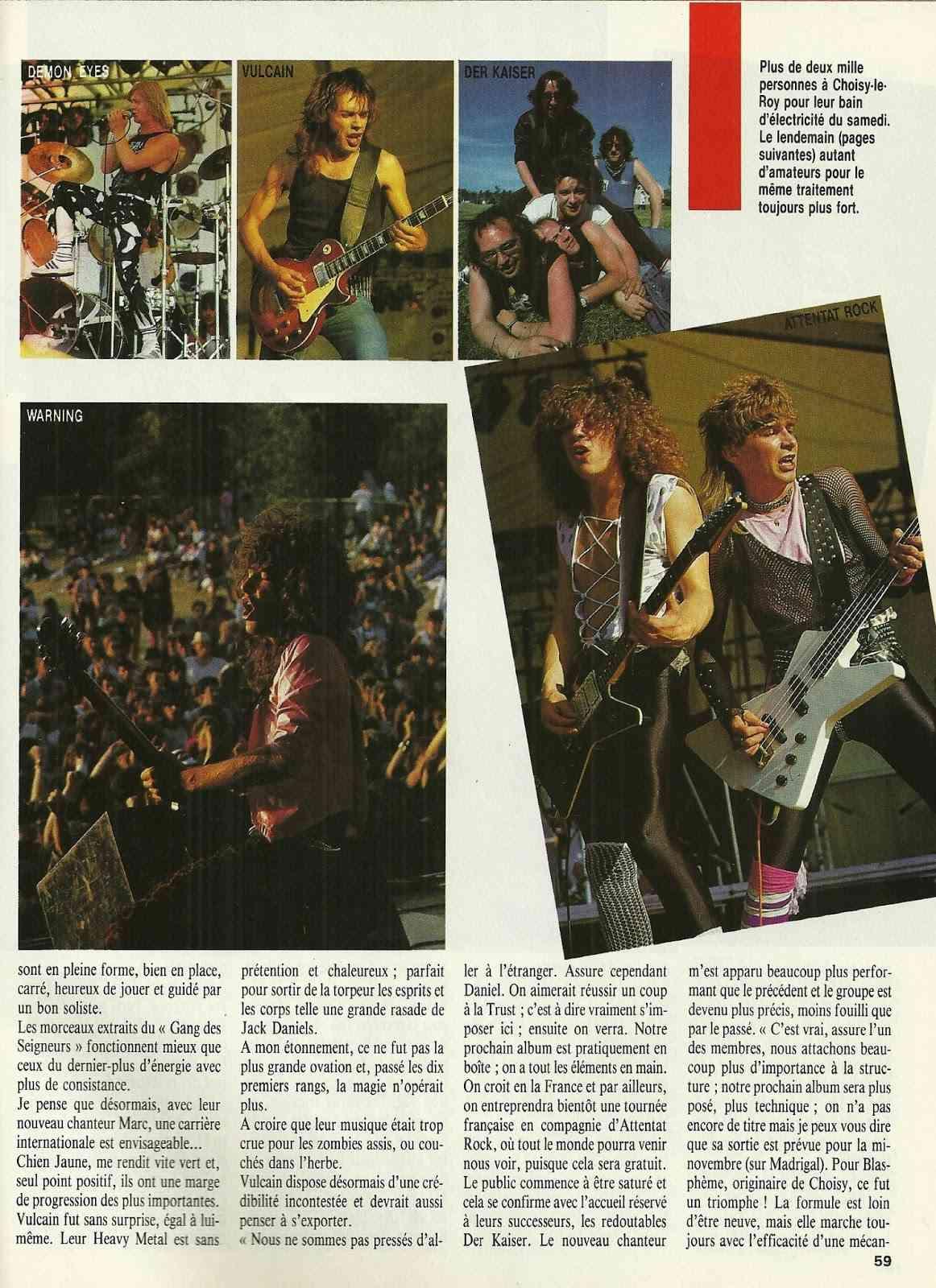 """FRANCE FESTIVAL à Choisy le Roi les 6 et 7 juillet 1985 (Chronique d'une belle aventure) """"Metal Attack"""" Juillet 1985  Numyri35"""