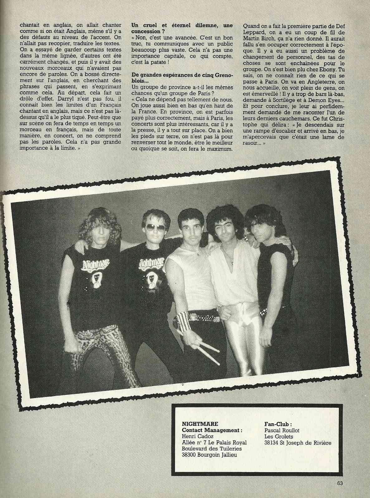 """NIGHTMARE interview """"Metal Attack"""" Octobre 1984 Numyri43"""