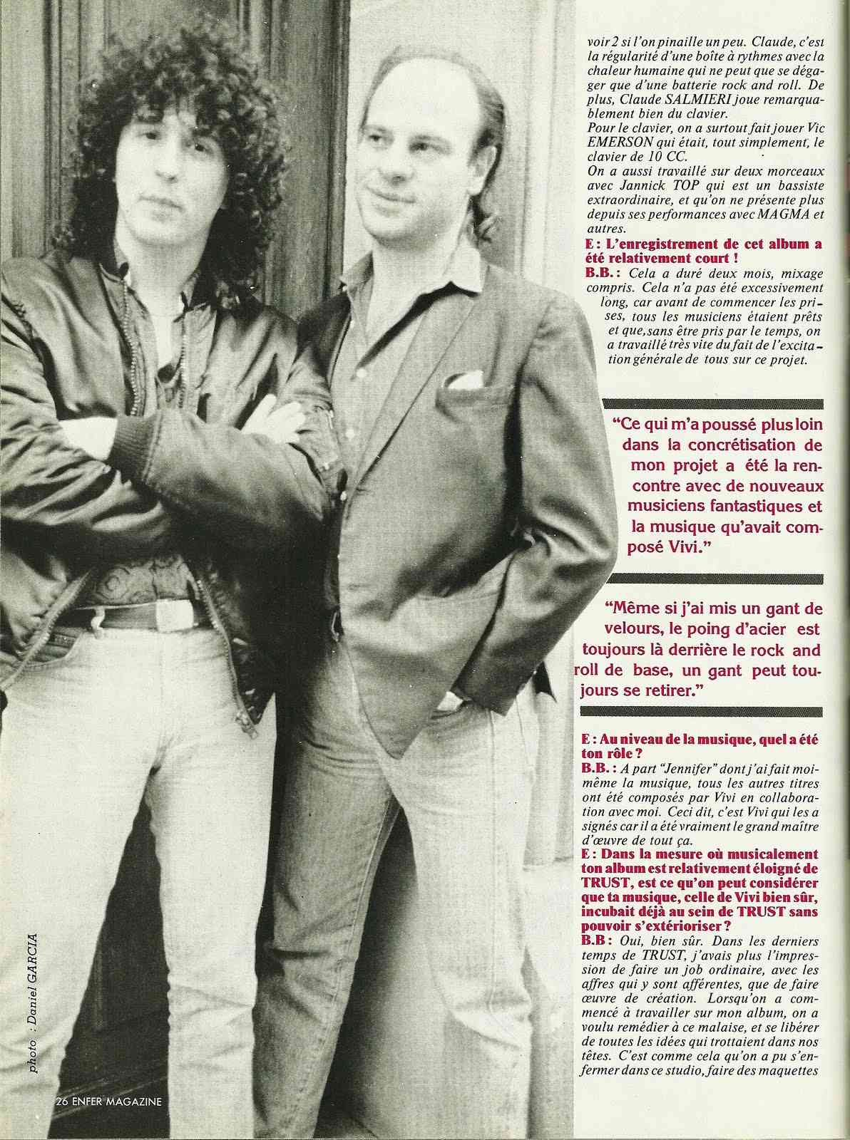 "BERNIE BONVOISIN interview ""Enfer Magazine"" Juin 1986 Numyri45"