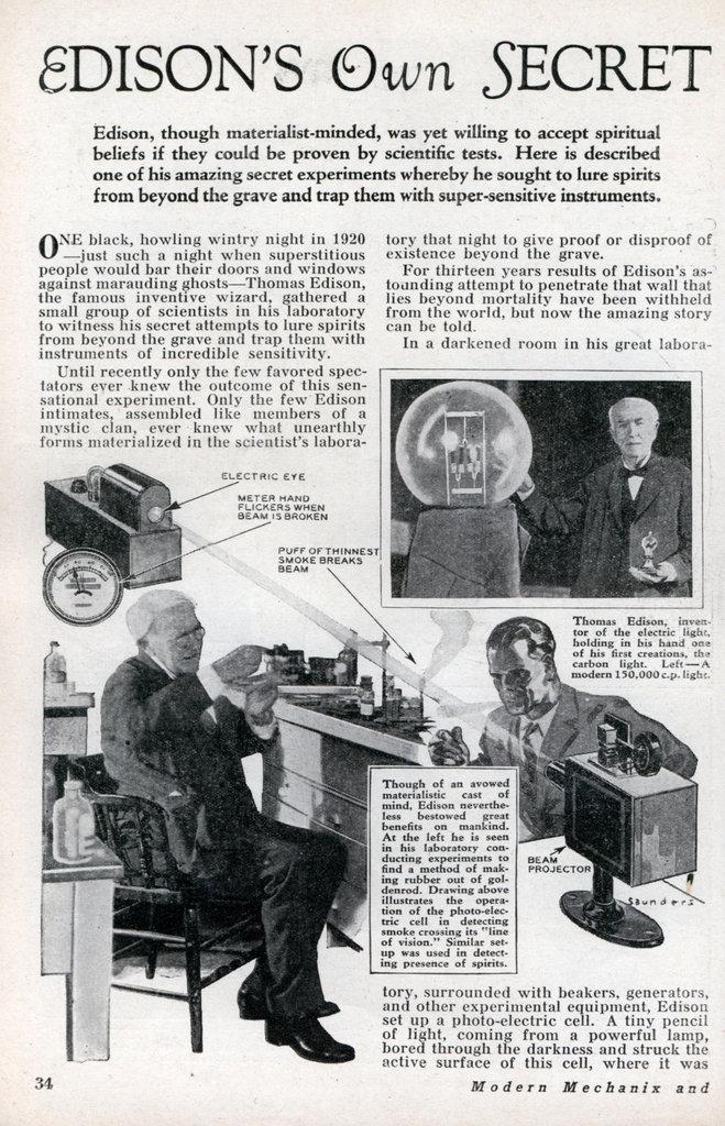 Thomas Edison's Spirit Phone Modern Mechanix 1933 Spirit10