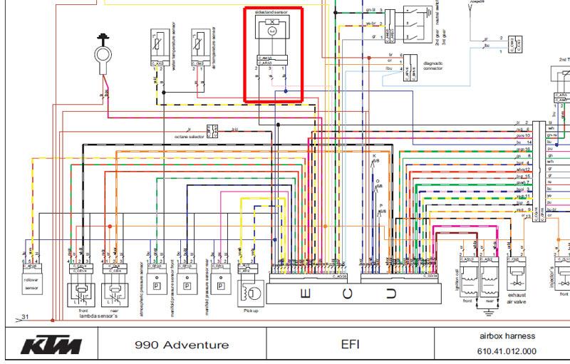 Schema Elettrico Ktm 990 Adventure : Leurre pour contacteur de béquille et