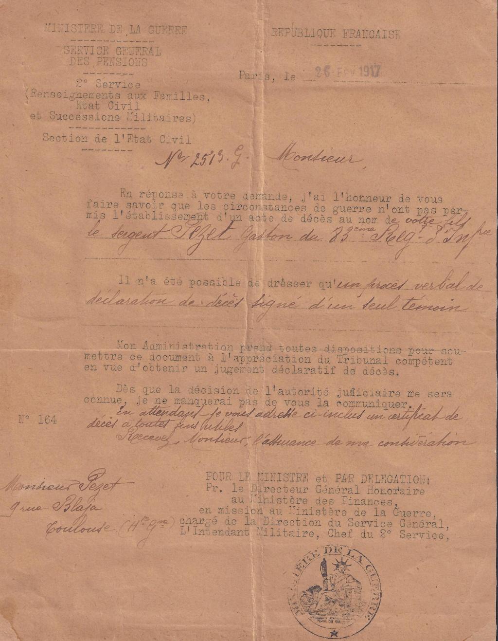 Gaston PEZET mort pour la France en 1914. Lettre11