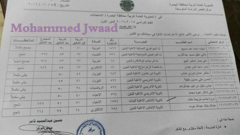 نتائج اعتراضات  الثالث المتوسط محافظة البصرة  2016  - صفحة 2 127