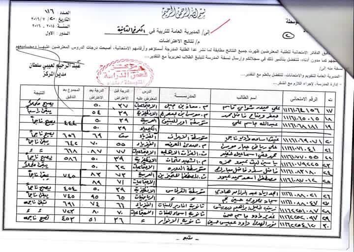 نتائج اعتراضات الثالث المتوسط محافظة بغداد تربية الكرخ الثانية  2016 227