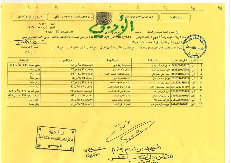 نتائج اعتراضات امتحانات السادس الاعدادي للدور الاول 2016-2015 محافظة واسط  421