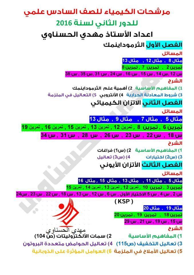 مرشحات الكيمياء الدور الثاني السادس العلمي اعداد الاستاذ مهدي الحسناوي C110