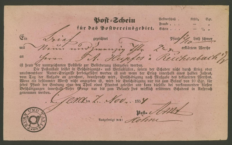 Postscheine aus Thurn und Taxis 07115410