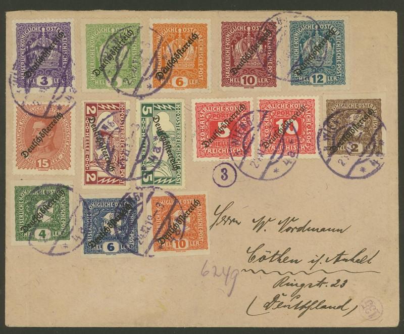Republik Deutsch-Österreich  -  Bedarfspost Dez. 1918 - Dez. 1921 Bunter10