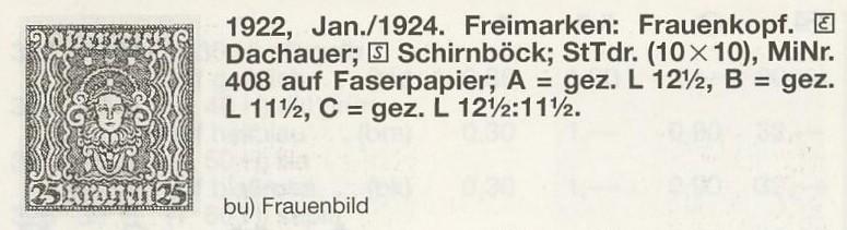 Faserpapier - Frauenkopf Satz - ANK 398 / 408 Kat10