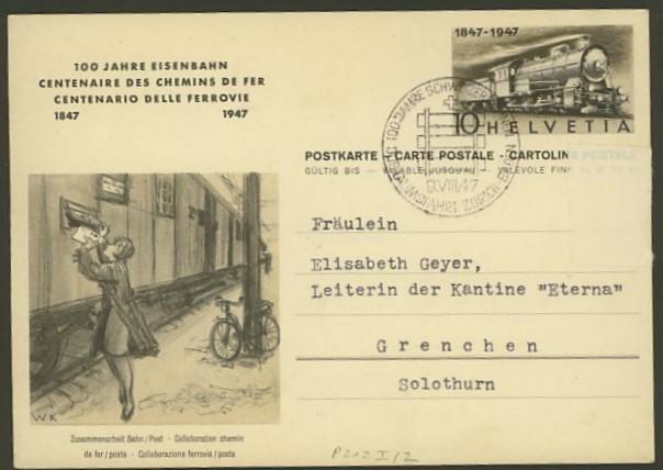 schweiz - Motiv Eisenbahn   -   Bildpostkarten der Schweiz P_212_11