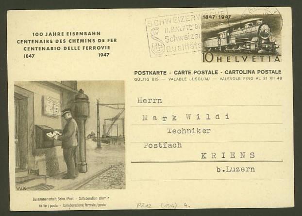 schweiz - Motiv Eisenbahn   -   Bildpostkarten der Schweiz P_212_13