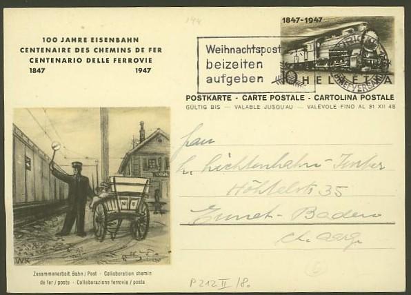 schweiz - Motiv Eisenbahn   -   Bildpostkarten der Schweiz P_212_17