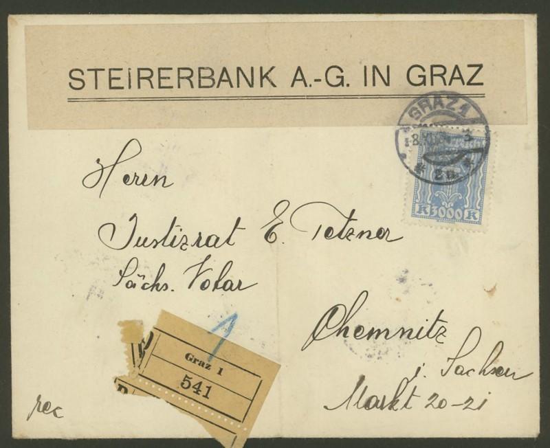 Briefe / Poststücke österreichischer Banken Steire10