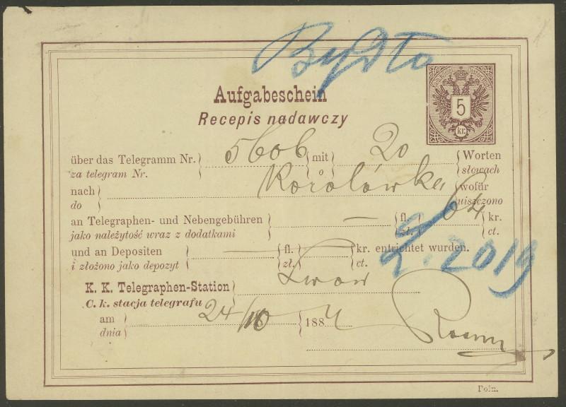 Telegramm - Aufgabebescheine Ta_1910