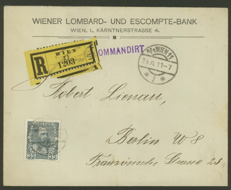 Briefe / Poststücke österreichischer Banken Wiener10