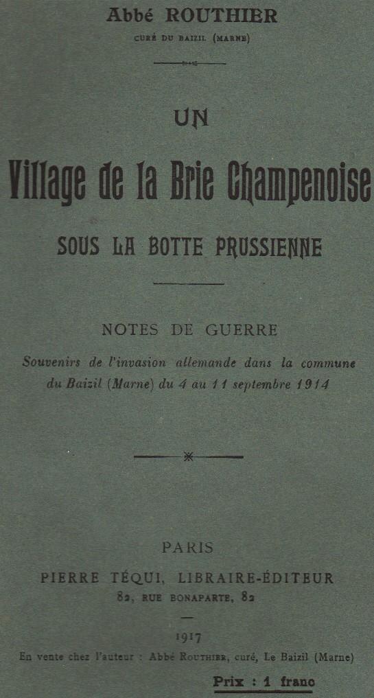Abbé ROUTHIER - Les Prussiens au BAIZIL - Septembre 1914 01_cou10