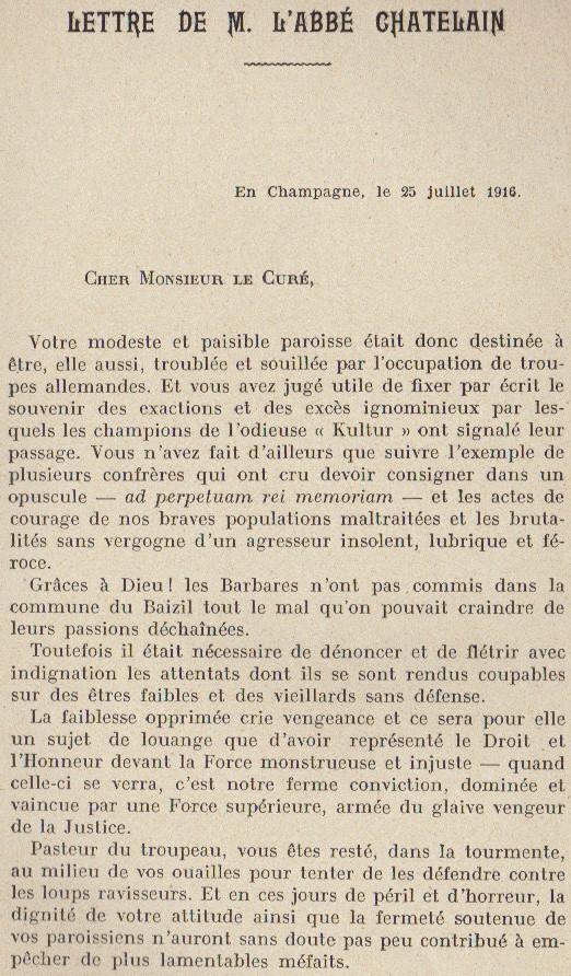 Abbé ROUTHIER - Les Prussiens au BAIZIL - Septembre 1914 03_let10